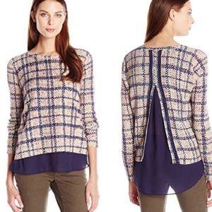 Lucky Braid Plaid Split Back Sweater